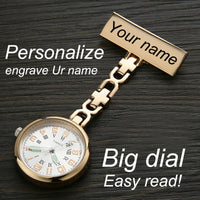 Personalized Customized FREE Name Engraved Rose Gold Pin Brooch BIG Dial Luminescent TOP QUALITY Lapel Midwife Nurse Fob Watch