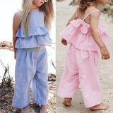 3pcs Casual Kids Girls Clothes Set Solid Ruffled Strap Tops+Pants+Headdress