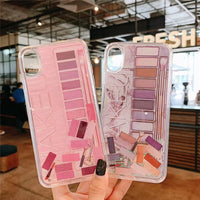 Makeup Eyeshadow Palette Phone Case For iPhone XS Max XR XS 11 11Pro Max 6 6s 7 8 plus Dynamic Glitter Cosmetic Quicksand Cover