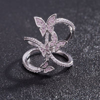 SuePhil New 2019 Women Rings Butterfly Light Pink Crystal Zircon Wings Ring for Women Trendy Jewelry rings