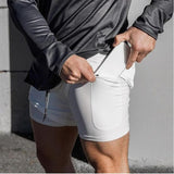 Men's 2 in 1 Running Shorts Security Pockets Leisure Shorts Quick Drying Sport Shorts Built-in Pockets Hips Hiden Zipper Pockets