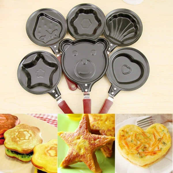 Mini egg fry Kitchen supplies breakfast love pan pancake pan heart omelette pan jarhead without pot cover Cast Iron Black