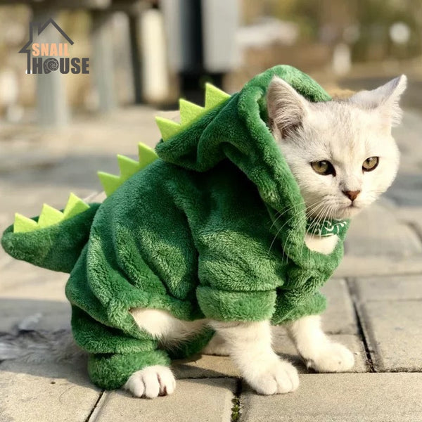 Snailhouse Hot Sale Pet Cat Clothes Funny Dinosaur Costumes Winter Warm Plush Cat Coat Small Cat Kitten Hoodie Puppy Dog Clothes