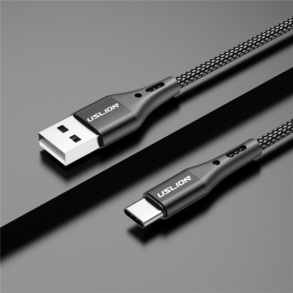 USLION 3A USB Type C Cable Fast Charging Wire for Samsung Galaxy S8 S9 Plus Xiaomi mi9 Huawei Mobile Phone USB C Charger Cable