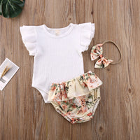 0-24M Baby Summer Clothing Infant Newborn Baby Girl Ruffled Ribbed Bodysuit Floral Shorts Headband 3Pcs Set