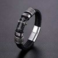 LKO Classical Multi-layer Handmade Leather Chain Weaved Man Bracelets Fashion New Magnet Clasp 316L Stainless Steel Wristband