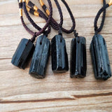 Natural Black Tourmaline Stone Necklace Pendant Black Tourmaline Original Stone Ore Specimen Fashion Jewelry Accessories Gift