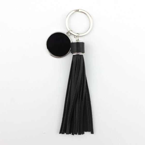 ZWPON Fashion PU Leather Tassel Monogram Enamel Disc Blank Only Key Chains for Women Bag Keychains Unique Handbags Accessories