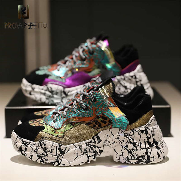 Prova Perfetto 2020 Sneakers Women Trendy Chunky Dad Shoe Laces Platform Shoes New Color Matching Camouflage Sneakers Chaussures