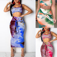 2Pcs Set Women Clothes Suit Ladies Summer Sleeveless Crop Top Bandaged Skirt Streetwear Clubwear
