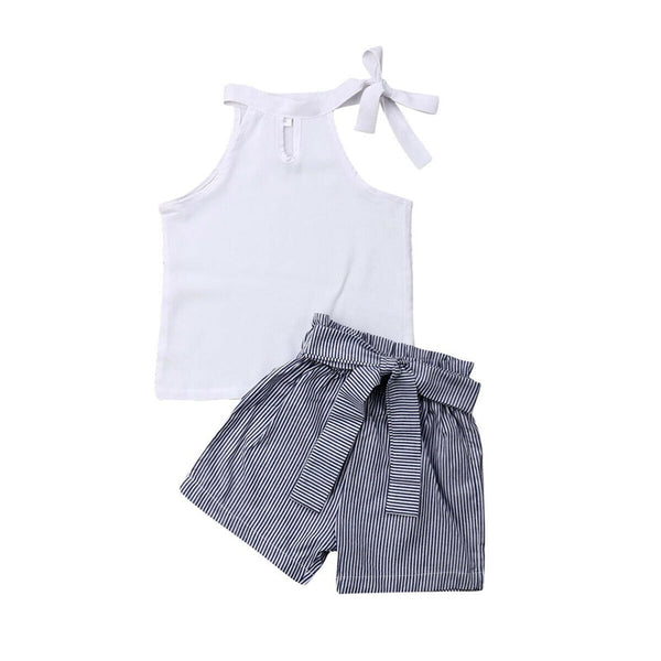 New Toddler Kids Baby Girls clothes round neck solid sleeveless pullover Tops Striped Bandage Shorts 2Pcs cotton lovely outfits