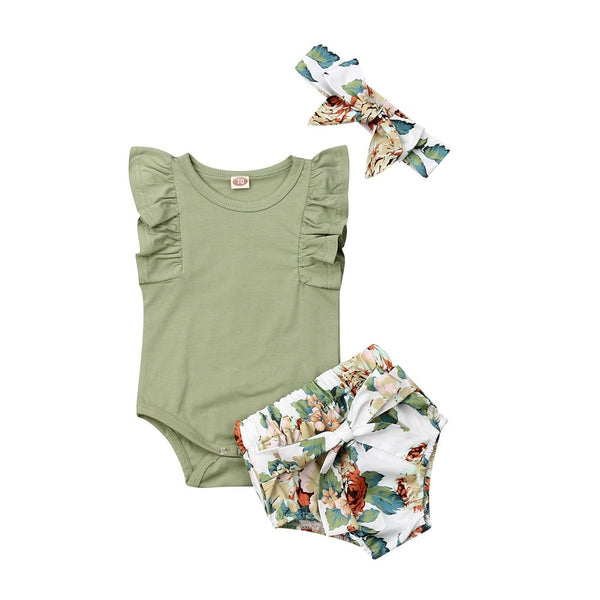 0-24M  Newborn Infant Baby Girls Clothes Ruffle Sleeve Romper Floral Shorts Outfit