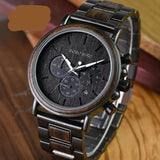 BOBO BIRD Luxury Wood Stainless Steel Men Watch Stylish Wooden Timepieces Chronograph Quartz Watches relogio masculino Gift Man