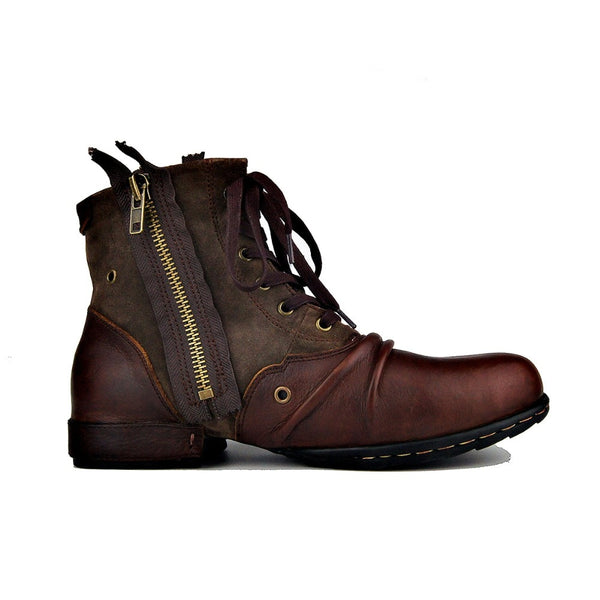 OTTO ZONE New England Shoes Boots Genuine Leather Men Motorcycle Boots 2018 Autumn Ankle Boots Winter Men's Casual Boots