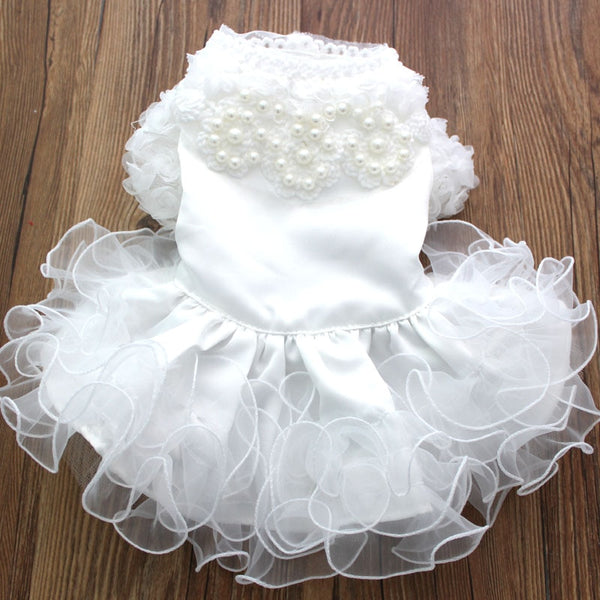 Dog Cat Wedding Dress Tutu Pet Puppy Princess Skirt Clothes Pearls&Fungus Lace Design For Dogs Cats Small Medium