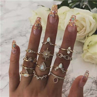 Tocona Fashion Metal Triangle Drop Opal Crystal MIdi Rings Set For Women Charm Rhinestone Geometry Retro Party Ring Anillos 7025 (gold)