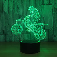 Novelty 3D Table Lamp 3D Motocross Bike Night Lights LED USB 7 Colors Sensor Desk Lamp as Holiday New Year Birthday Decor Gifts
