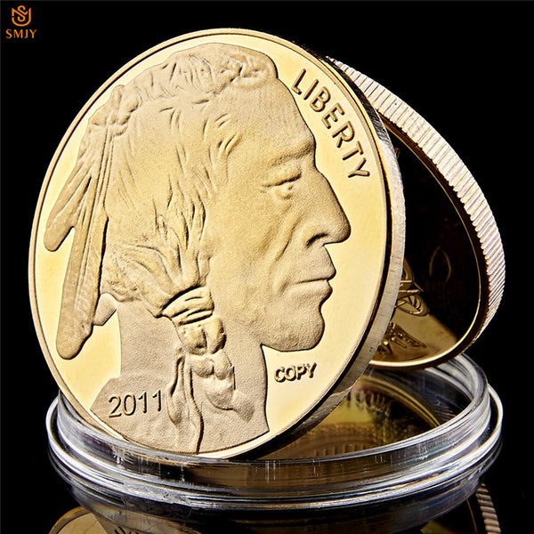 Native Americans and USA Liberty Buffalo Yak In God We Trust Gold Challenge Collectible Coin
