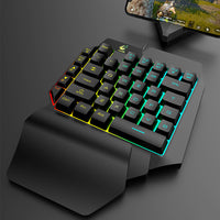 VOBERRY T15 Cable Game Keyboard With LED Backlight 39-key Single-handed Film Keyboard Game Micromanipulation Mouse