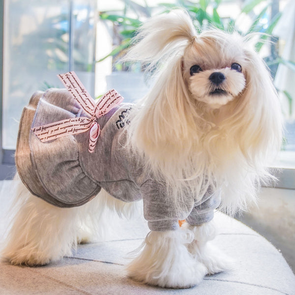 Winter Cotton Pet Dog Dress Warm Dog Clothes for Small Dogs Chihuahua Maltese Dresses Puppy Cat Skirt vestidos para perritas
