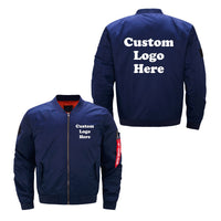 US Size Custom Logo Design Men Flying Jacket DIY Printing Zipper Coat Thicken Jacket Unisex Outerwear