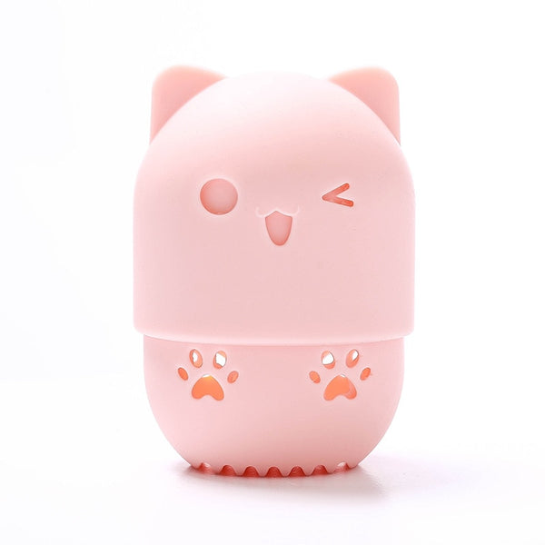 Kitten Beauty Powder Puff Blender Holder Sponge Makeup Egg Drying Case Portable Soft Silicone Cosmetic Blender Sponge Box Holder