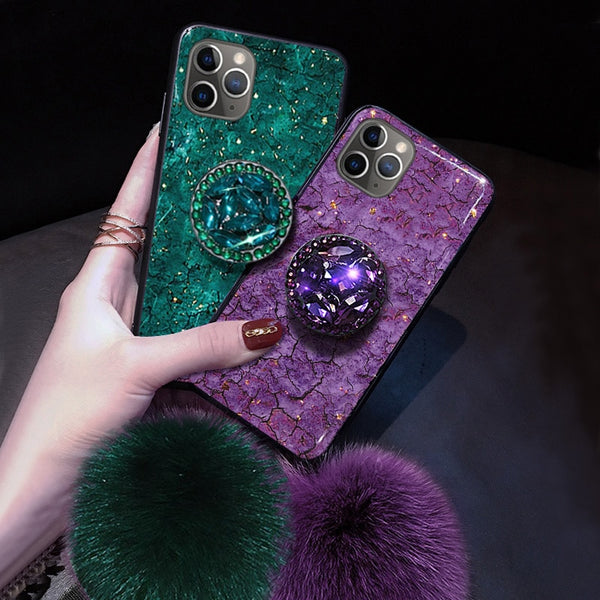 for iPhone 11 Pro X XR XS MAX 7 8 6s Plus Phone Cases Luxury Diamond Marble Glitter holder Ring Silicon Cover For iPhone XR XS