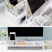 Plastic Office Table Organizer Desk Keyboard Rack Stationery  Storage Holder Computer Home Office Desktop Storage Shlelf