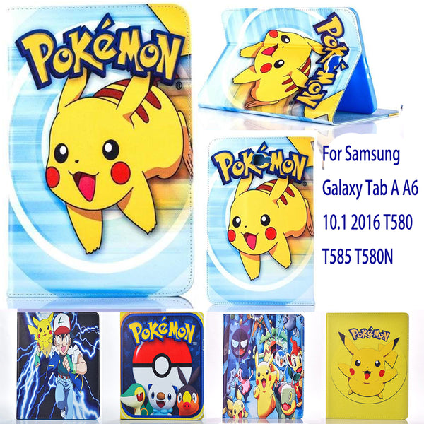 Case For Samsung Galaxy Tab A A6 10.1 2016 T580 T585 T580N case Pokemon Go cute Pikachu tablet Cover Flip stand shell coque para