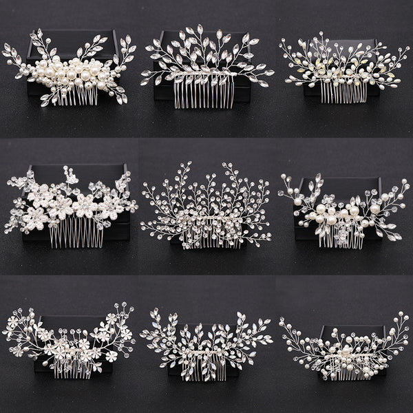 Silver Color Pearl Crystal Wedding Hair Combs Hair Accessories for Bridal Flower Headpiece Women Bride Hair ornaments Jewelry