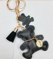 Cute New PU Leather Bear Tassel Key Chain on Bag Trinket Fashion Gold Charm Car Keychain Jewelry Women Bag Accessories Gift