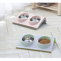 Double Dog Bowls Food Water Feeder For Dog Cats Pets Supplies Feeding Dishes Splash-proof Stainless Steel Pet Bowl New Year Bowl
