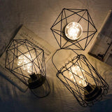 Geometric Shape LED Desk Lamp Wrought Iron Bedside Decorative Night Light Support Dropshipping