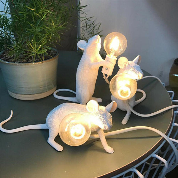 Resin Mouse LED Night Light White Bedside Lamp Energy Save Creative Children Bedroom Decorative Ornament Table Lighting