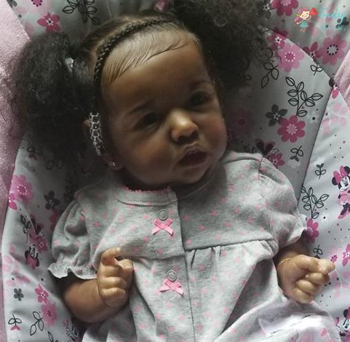 "22"" African American So Real Reborn Saskia Baby Doll Girl Lesley"