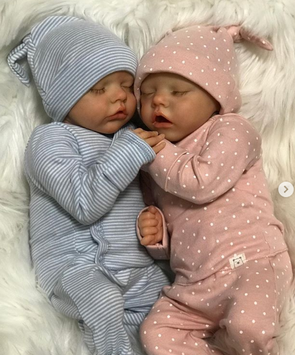 "[MID-YEAR OFFER] 17"" Sweet Sleeping Dreams Reborn Twins Sister Maren and Emmarie Truly Baby Toy Girl, Birthday Gift"
