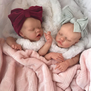 "17"" Sweet Sleeping Dreams Reborn Twins Sister Elsie and Frances Truly Baby Toy Girl, Birthday Gift"