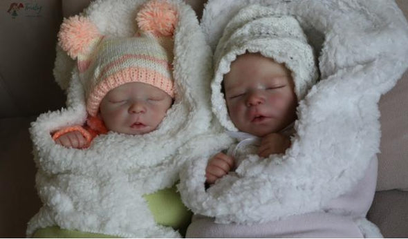 17.5inch Twin Brothers Aaron and Abbott Turly Reborn Baby Doll Girl