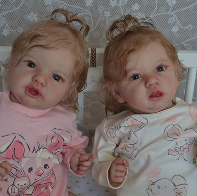 "22"" Lifelike twin Maegan and Ysandre Reborn Baby Toy Girls"