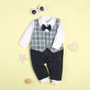 Gentleman Bowknot Decor Stripe Long-sleeve Jumpsuit for 22'' reborn baby Toy boy
