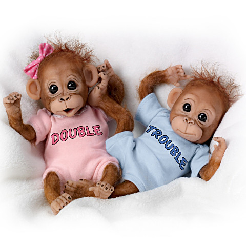 Twins Sister Double And Trouble Poseable Baby Orangutan  With Wispy Hair