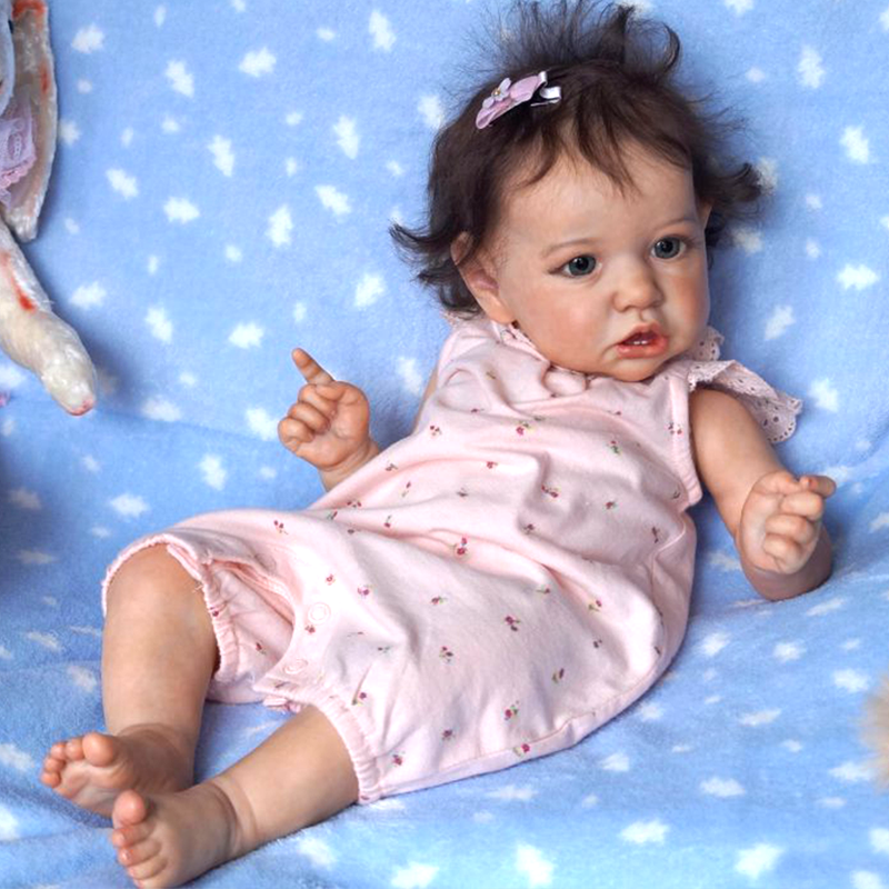 "[Heartbeat & Sound] 22'' Reborn Baby Doll Girl Melody, Real Life Dolls Toy with Coos and ""Heartbeat"""