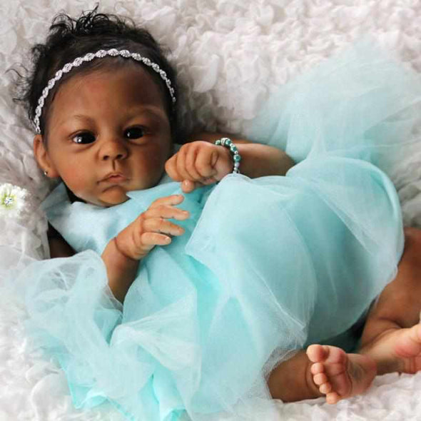 21inch Esther Truly Reborn Baby Girl Doll,Black Hair,Black Eyes, Gift