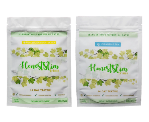 One white package of Honestslim's 14 day supply of Metabolism Booster or Morning Boost blend. One white package of Honestslim's 14 day supply of Cleansing Tea or Night Cleanse blend.