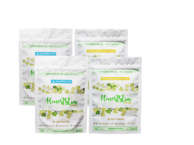 Two white packages of Honestslim's 28 day supply of Metabolism Booster blend. Two white packages of Honestslim's 28 day supply of Cleansing Tea blend.