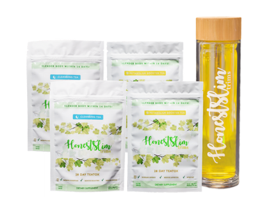 2 Month Supply Package & Detox Glass Bottle