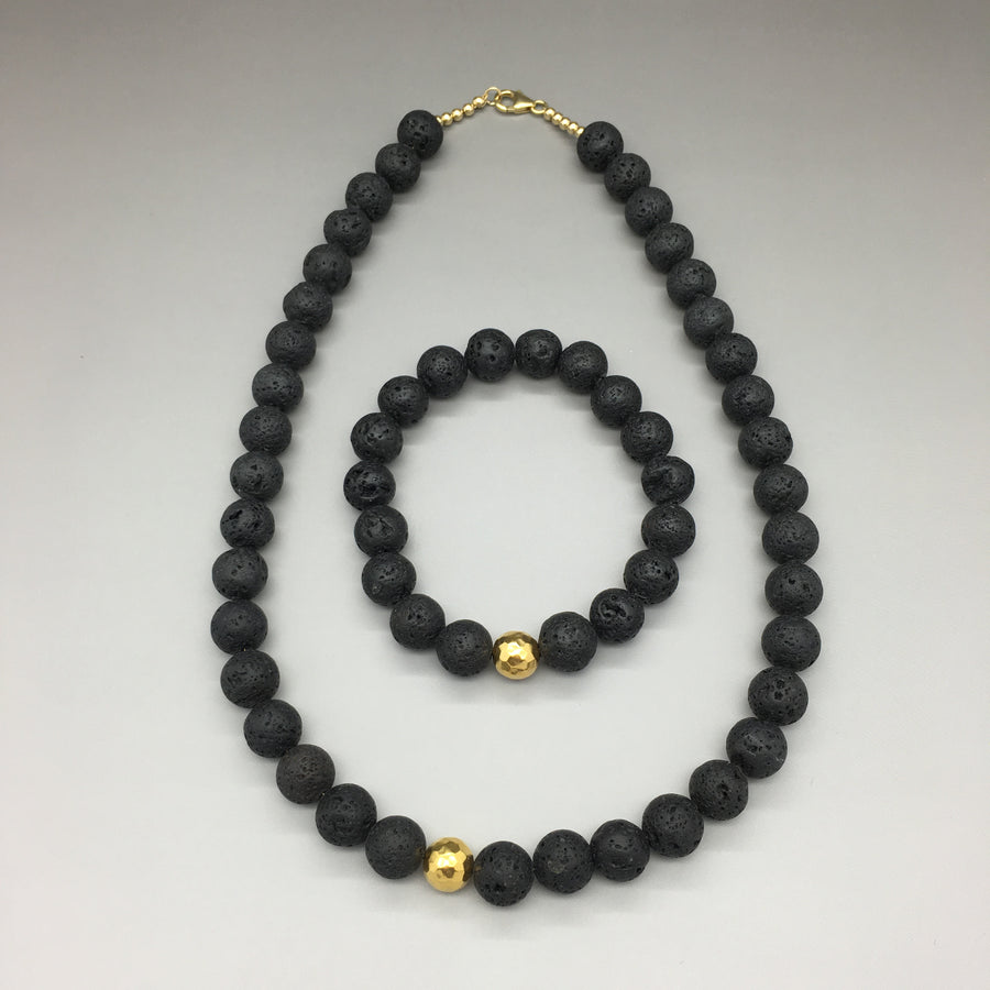 Black Lava Rocks and Hammered Bead Necklace