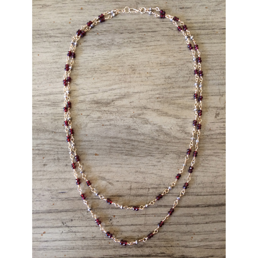Red Garnet & Pyrite Double Strand Necklace