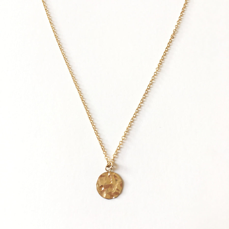 Gold filled necklace with hammered charm