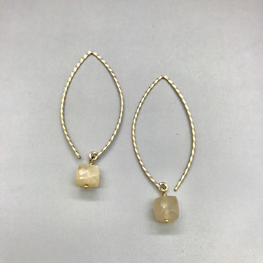 Peach Moonstone Hoop Earrings
